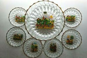 OLD New Set - Made in Italy Salad Bowl w 6 side salad bowls w different decals!