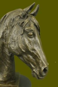 Beautiful Vintage Bronze Horse Bust On Marble Base Sculpture Statue Figurine Art $219.00
