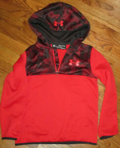 NEW Underarmour BOYS Pullover Hoodie Hood Pockets RED BLACK Size YSM 8 $14.99