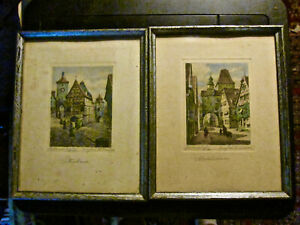 Pr. of Framed amp; Signed Antique Lithographs of Rothenburg. Markusturm amp; Plönlein. $60.00