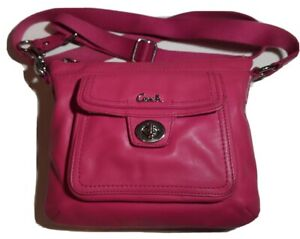 Coach Small Pink Purse With Adjustable Strap Front Pocket With Flap Closure