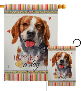 Beagle Happiness Garden Flag Animals Dog Small Decorative Gift Yard House Banner