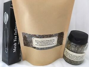 ROOIBOS GINGER MINT TEA 4 oz. with Infuser and Mediterranean Spice - GREAT GIFT