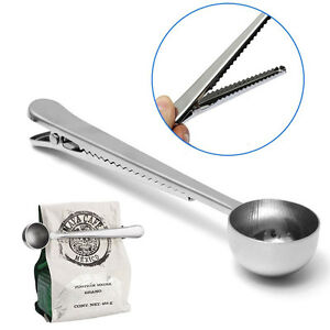 Stainless Steel Cup Ground Coffee Measuring Scoop Spoon with Sealing Clip.