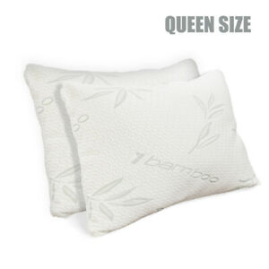 Set of 2 Bamboo Shredded Memory Foam Bed Pillows Hypoallergenic Cover Queen Size
