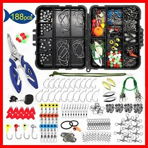 【188PCS】Fishing Accessories Kit set with Tackle Box Pliers Jig Hooks Swivels US