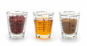 Little Measuring Cup Set of 3 Glass-Measures TBS-TSP-ML-OZ-New-Free Shipping