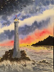 Unframed Signed Watercolor Lighthouse Painting Seascape Sunset Coast $39.50
