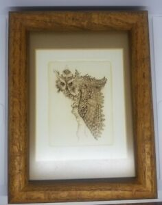 Allen Reid quot;Owl IIquot; Limited Edition 39 100 Dry Point Etching Framed $65.00