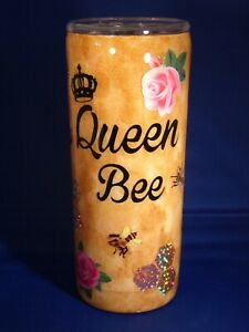 BEAUTIFUL * QUEEN BEE Honey Comb Roses Tumbler * 20oz Stainless* No Glitter