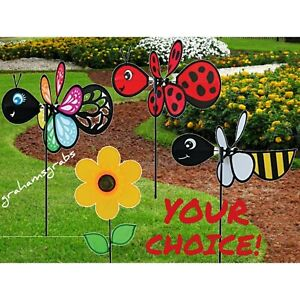 BUMBLE BEE BUTTERFLY LADY BUG SUNFLOWER BABY BUG WIND SPINNERS. YOUR CHOICE