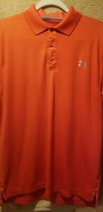 Under Armour Golf Polo Shirt Mens Medium M Loose Dark Orange $22.00