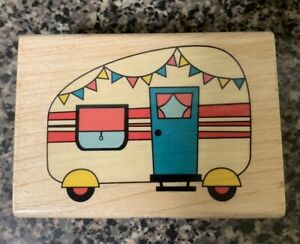 Rare CAMPING TRAILER Retro Travel Camper RV Vacation Rubber Stamp Stampabilities