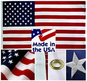 Sewn Nylon American Flags Beautifully Embroidered HIGH QUALITY MADE IN THE USA