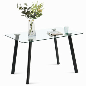 Modern Glass Dining Table for 4 6 Rectangular Kitchen Table for Dining Room $269.99