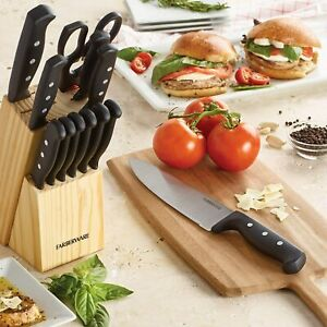 Knife Set With Block Kitchen Stainless Steel Sharpening Cutlery Knives 22 Pcs