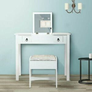 Flip top Mirrors Vanity Makeup Dressing Table Set With Stool Wood Desk Whiite