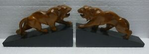 Pair Of Fine Greenhouse Books Old Wooden Carved Panthers Lions
