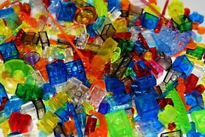 100 Translucent Lego Pieces Small Bricks Cones Plate Tile Round Specialty Lot