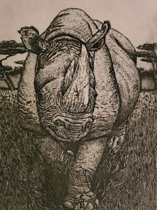 Rhinoceros RHINO Lithograph Signed Susan Sona Signed $72.00