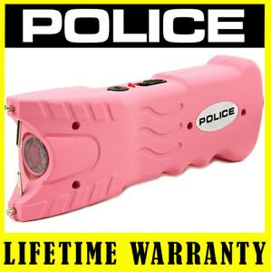 POLICE Stun Gun PINK 918 500 BV Rechargeable With LED Flashlight Safety Pin