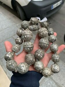 Old Vintage Yemenite Silver Necklace Antique with signature 241 Gram $400.00