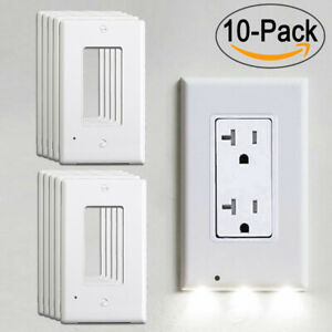 5 10X Wall Outlet Cover LED Night Lights Sensor Hallway Bedroom Kitchen Auto