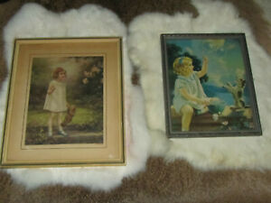 Two Vtg Antique Lithographs Girl W Dog amp; Girl W Teddy Bear Period Frames $12.95
