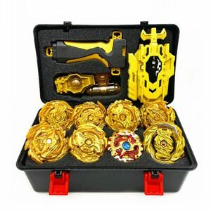 8PCS Beyblade Gold Burst Set Spinning With Grip LauncherPortable Box Case Toy $31.34