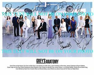 GREYS ANATOMY FULL CAST SIGNED AUTOGRAPH 8x10 RP PHOTO BY 14 GREY#x27;S DEMPSEY OH