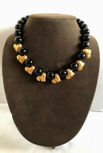 Vintage Robert Lee Morris Gold Plated Brass Hearts amp; Onyx Bead Necklace $250.00