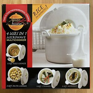 ASIAN FUSION 4 in 1 Microwave Multicooker 3.5 Quart Rice Pasta Steamer Cooker $12.95
