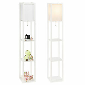 Modern Accent Light Wooden Floor Lamp with Storage Shelves for Living Room New $38.99