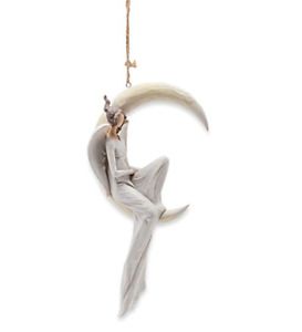 Wind amp; Weather Indoor Outdoor Resin Angel on Crescent Moon Hanging Ornament 6.75