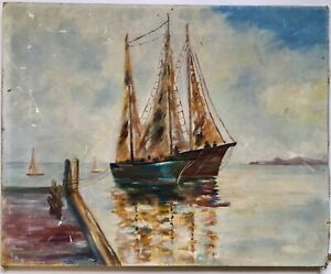 Antique 20s 30s Original Nautical Seascape Oil Painting Sail Ships Boats Signed $75.00