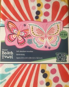 Brand New Pink Butterfly Shaped Beach Towel Baby Toddler Kid Size 34quot; x 64quot;