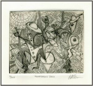 ROWDY HEARTBREAK JAZZ PLAYERS Original ETCHING Signed Limited Edition Art Print $24.00