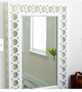 Large Contemporary White Modern Wall Mirror Wood Bath Hall Rectangle Cottage $75.25
