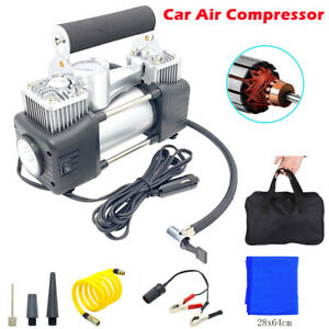 Portable Car Air Compressor Tire Pump Inflator Auto Double cylinder HEAVY DUTY
