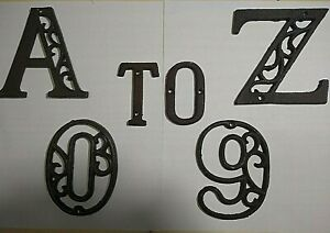 Alphabet Letters Numbers House Home Names Brown Cast Iron Metal Large 4.5quot;