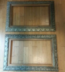 SET OF 2 SUPERB 19th CENTURY WOOD GESSO SILVER ORNATE FRAMES 42 1 2quot; X 28 1 2quot; $400.00