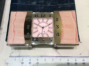 Frank Muller Alarm Clock Alarm Quartz Travel New Full Set Leather Pink