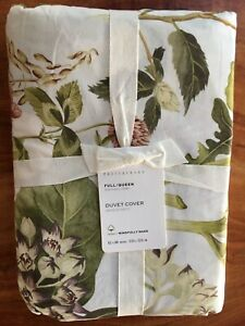 NEW Pottery Barn Organic Thistle Floral Print FULL QUEEN Duvet Cover