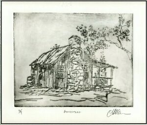 OLD SOUTHERN HOMESTEAD Original ETCHING Signed Limited Edition Art Print $24.00