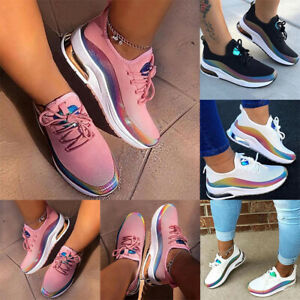 Women Lace Up Breathable Trainers Sports Running Gym Sneakers Walking Shoes $21.59