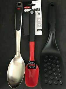 OXO set of 3 Kitchen Utensils: Silicone spoon stainless spoon spatula