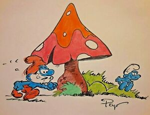 LOT OF 7 quot; SMURF quot; ORIGINAL DRAWINGS SIGNED quot; PEYO quot; BY PIERRE CULLIFORD $4200.00