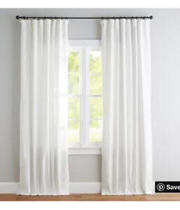 Pottery Barn Emery Linen Cotton Blackout Drape WHITE 100 X 96 2 AVAIL