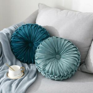 Pumpkin Pillow Round Velvet Pleated Couch Cushion Home Floor Pillows Decorations $26.99