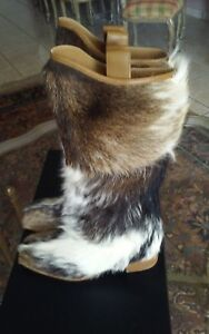 AUTH NEW 14A $1925 CHANEL DALLAS PONY FUR CC LOGO PULL UP TALL SNOW BOOTS 38.5 $1099.00